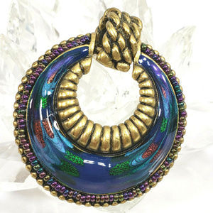Chico's Jewelry - Two Chico's Antique Silver Gold Pendants Dichroic